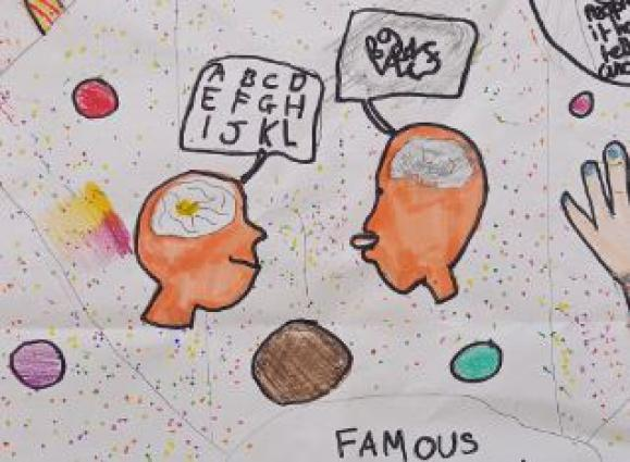 A cartoon illustration showing the different thinking styles between someone with dyslexia and someone without.
