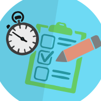 A picture of revision tools including a pen, clipboard and stopwatch on a blue circular background.